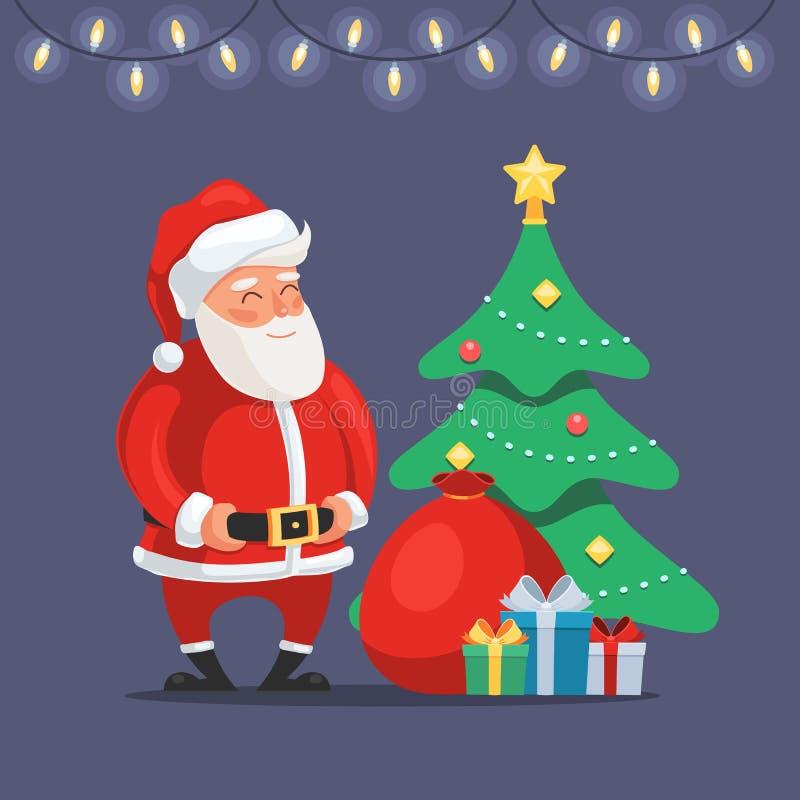 Il Babbo Natale con l'albero di Natale illustrazione di stock