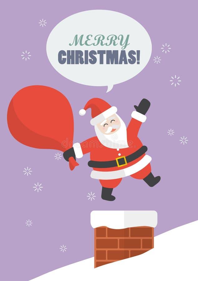 Il Babbo Natale con la grande borsa che salta nel camino illustrazione di stock