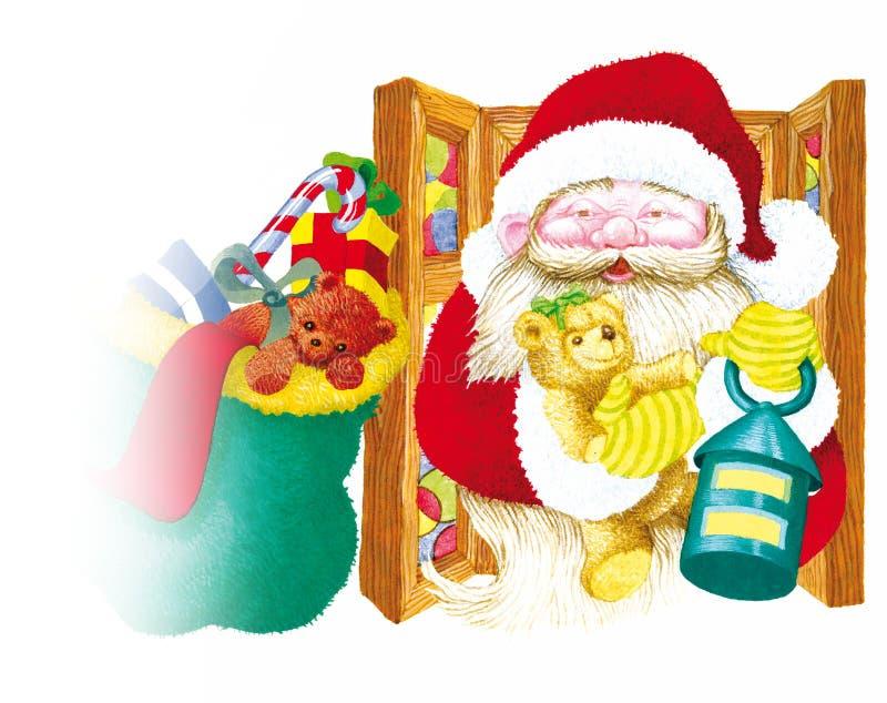 il Babbo Natale con la lanterna illustrazione vettoriale