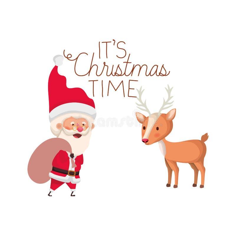 Il Babbo Natale con la renna e è carattere dell'avatar di tempo di Natale royalty illustrazione gratis