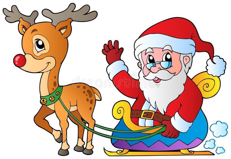 Il Babbo Natale con la slitta ed i cervi illustrazione vettoriale