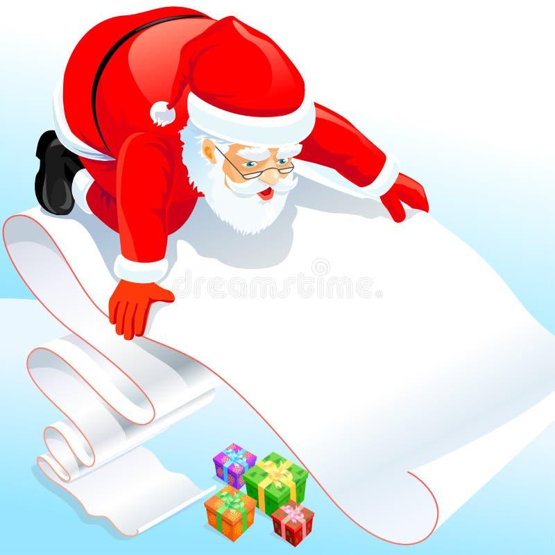 Il Babbo Natale con la sua lista di obiettivi royalty illustrazione gratis
