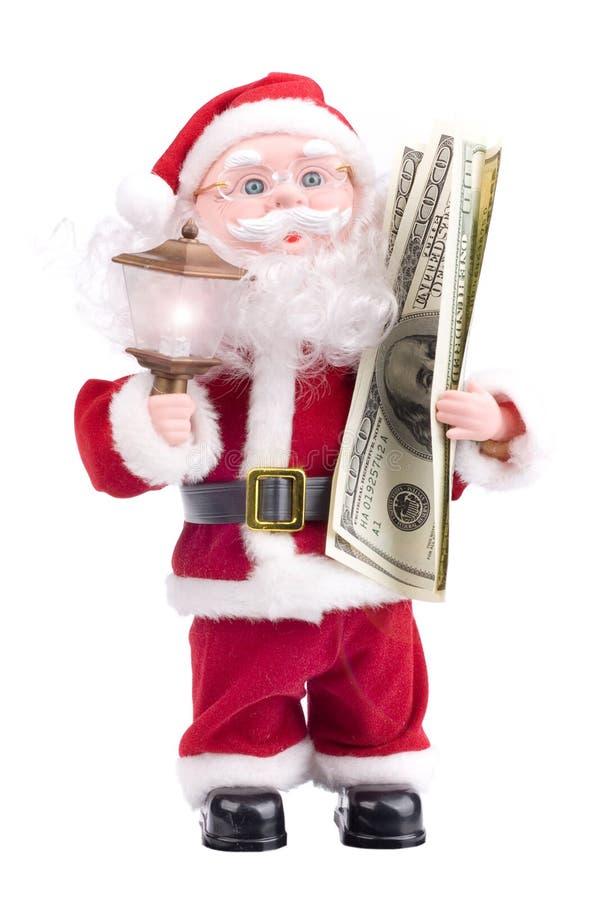 Il Babbo Natale con soldi fotografie stock