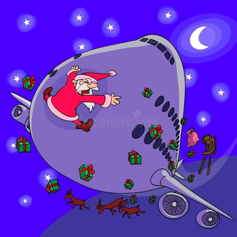 Il Babbo Natale contro l'aereo fotografia stock