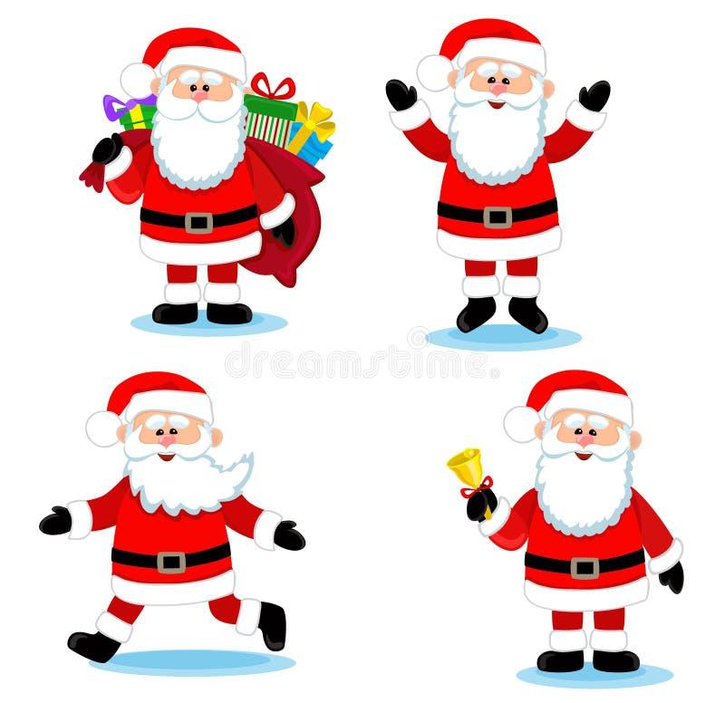 Il Babbo Natale dipinto a mano Insieme di vettore del fumetto illustrazione di stock