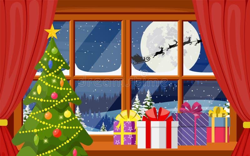 Il Babbo Natale e la sua renna in finestra illustrazione di stock