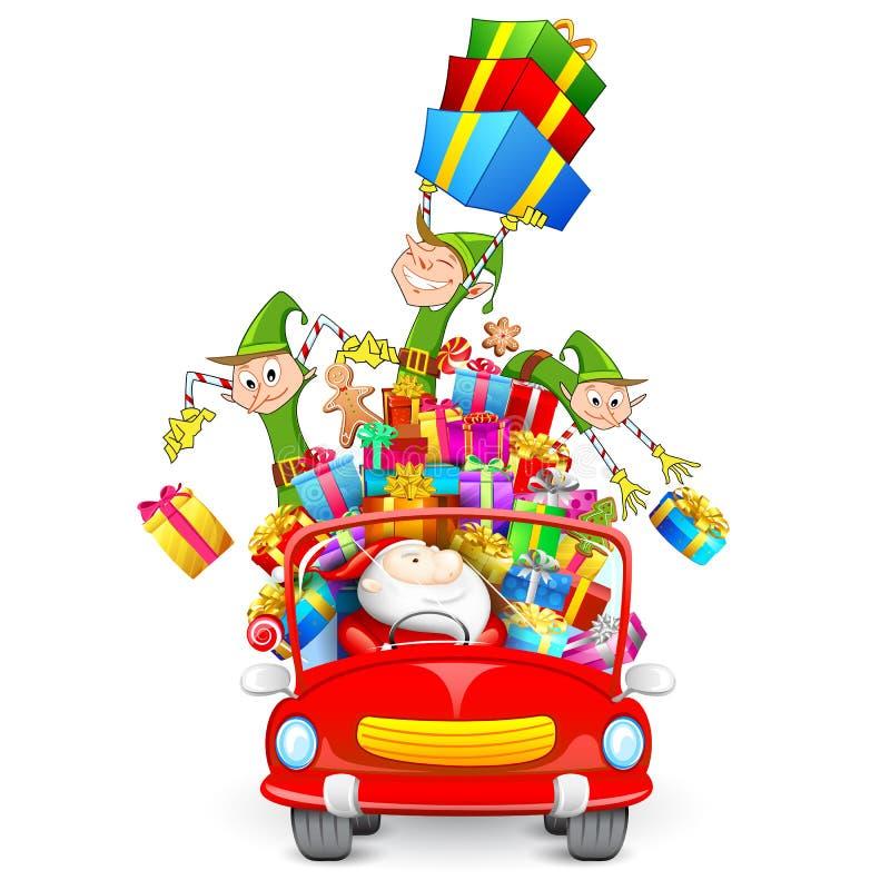 Il Babbo Natale ed elfo con il regalo di natale royalty illustrazione gratis
