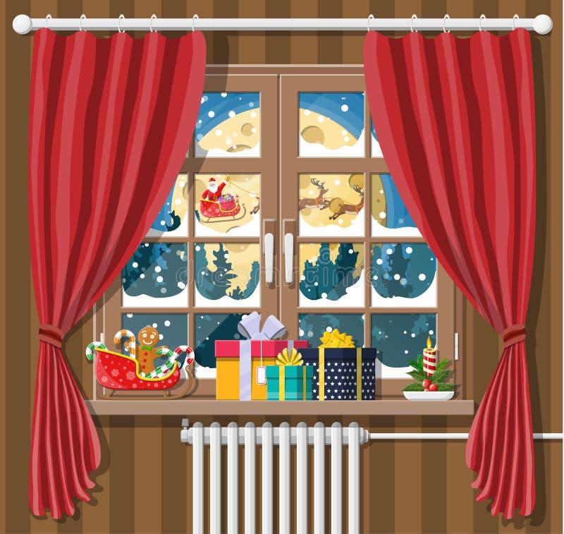 Il Babbo Natale ed i suoi sguardi della renna nella finestra della sala royalty illustrazione gratis