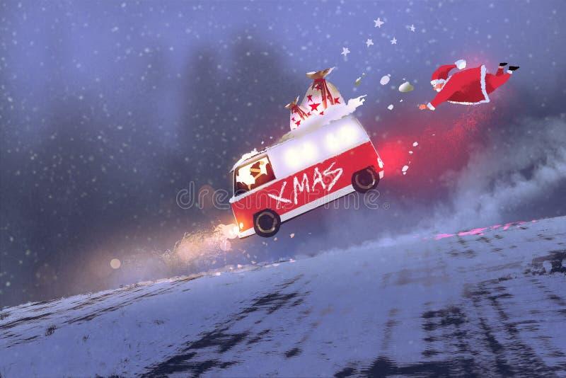 Il Babbo Natale ed il furgone con le borse del regalo di natale che saltano sulla strada di inverno illustrazione di stock