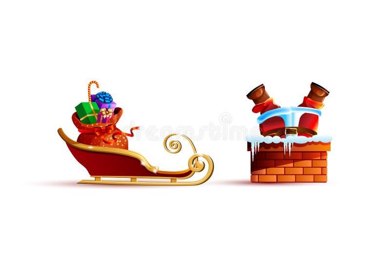 Il Babbo Natale hanno attaccato ed i presente dei regali della borsa della slitta royalty illustrazione gratis