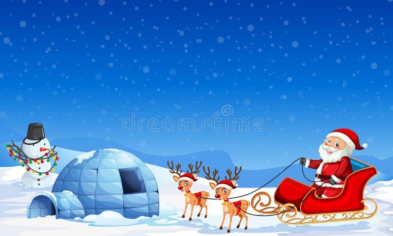 Il Babbo Natale nel fondo di inverno royalty illustrazione gratis