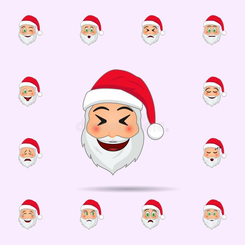 Il Babbo Natale nell'icona di emoji di derisione Insieme universale delle icone del Babbo Natale Emoji per il web ed il cellulare illustrazione di stock