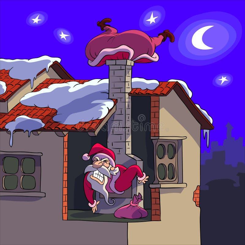 Il Babbo Natale nella difficoltà illustrazione vettoriale