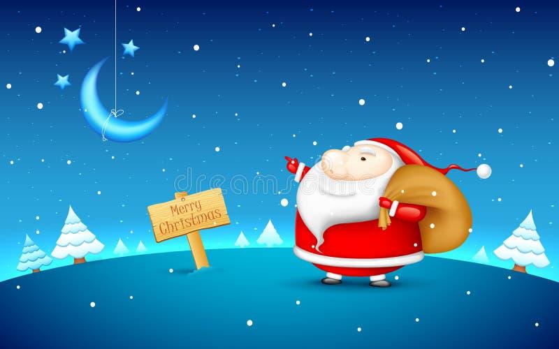 Il Babbo Natale nella notte di natale illustrazione di stock