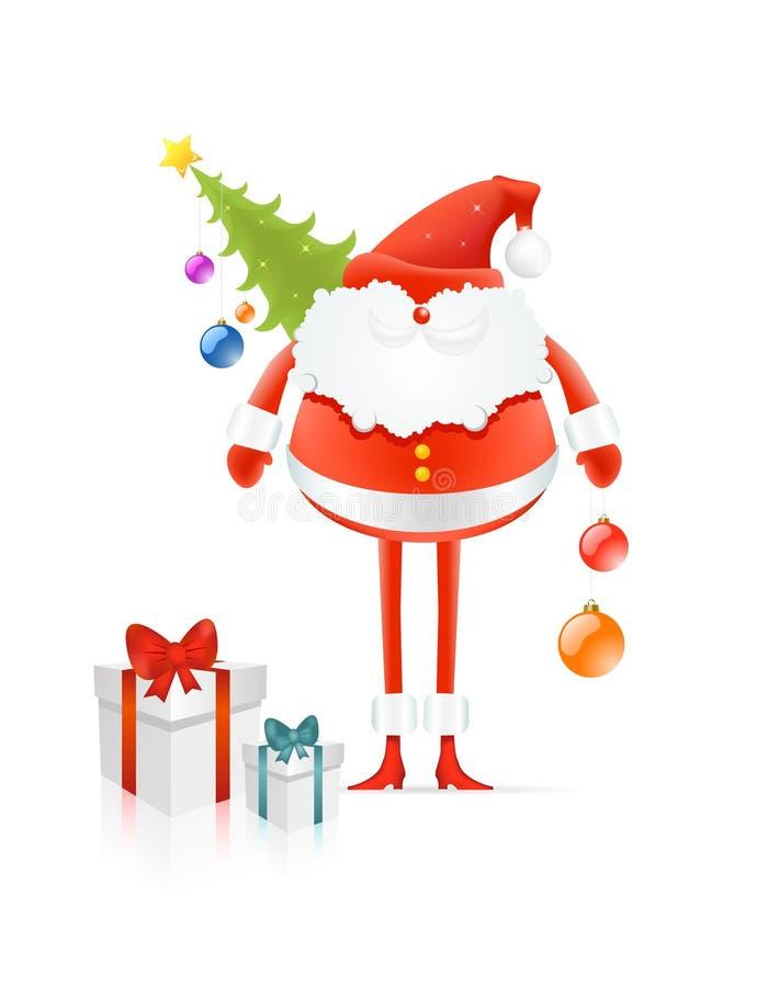 Il Babbo Natale rosso con l'albero ed i regali di cristmas illustrazione vettoriale