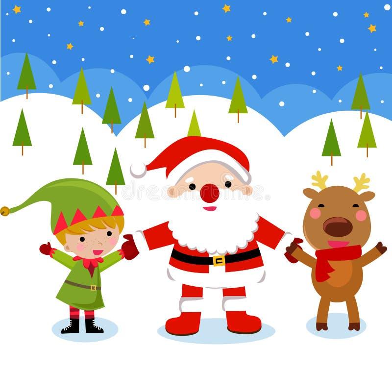 Il Babbo Natale, Rudolph ed elfo royalty illustrazione gratis
