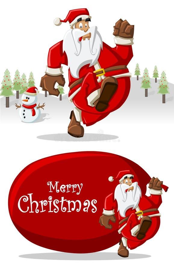 Il Babbo Natale su tempo di natale illustrazione vettoriale