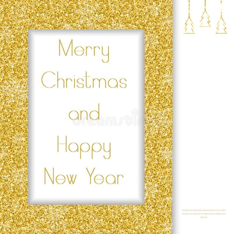 Il Babbo Natale su una slitta Blocco per grafici dorato royalty illustrazione gratis