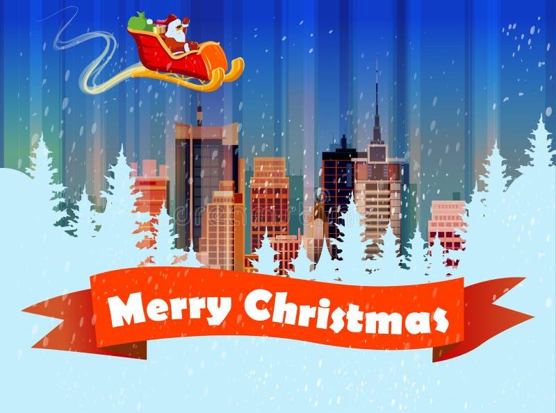 Il Babbo Natale su una slitta Illustrazione di vettore illustrazione vettoriale