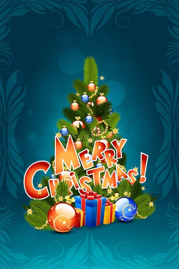 Il Babbo Natale su una slitta Iscrizione di Buon Natale royalty illustrazione gratis