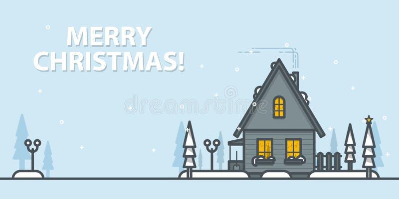 Il Babbo Natale su una slitta Paesaggio di inverno con la casa su un fondo blu Illustrazione di vettore del profilo illustrazione vettoriale