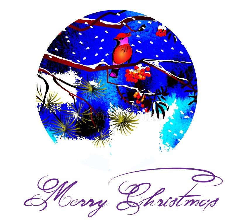 Il Babbo Natale su una slitta Uccelli sui rami nel Natale della foresta di inverno, notte gelida illustrazione di stock