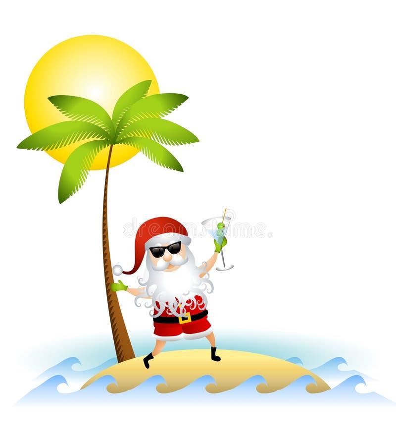 Il Babbo Natale sull'isola di deserto illustrazione di stock
