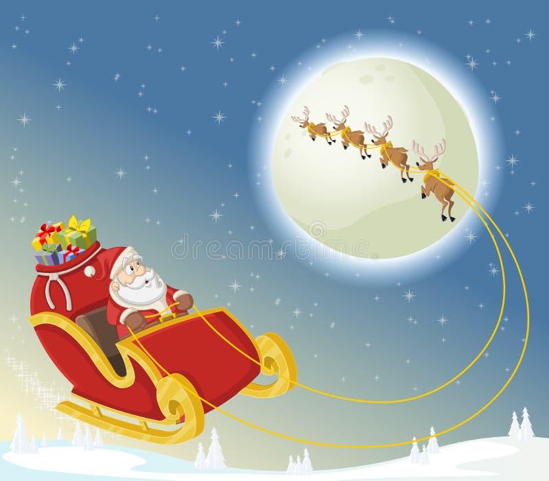 Il Babbo Natale sulla slitta illustrazione vettoriale