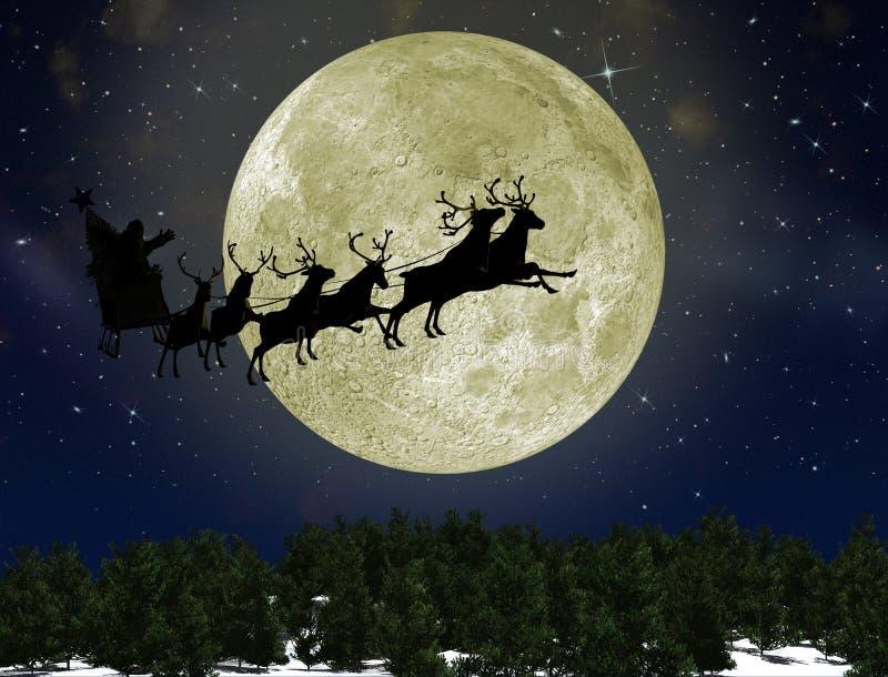 Il Babbo Natale sulla slitta con i cervi illustrazione di stock