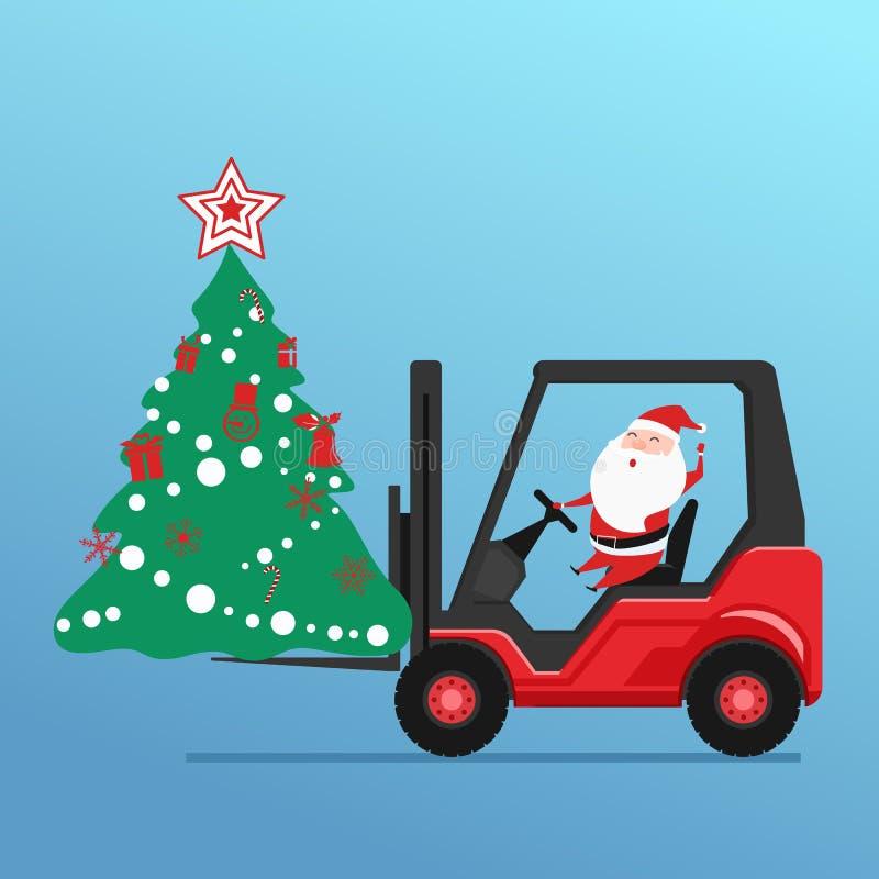 Il Babbo Natale sveglio guida l'albero di Natale di caricamento del carrello elevatore a forcale ed i contenitori di regalo illustrazione vettoriale