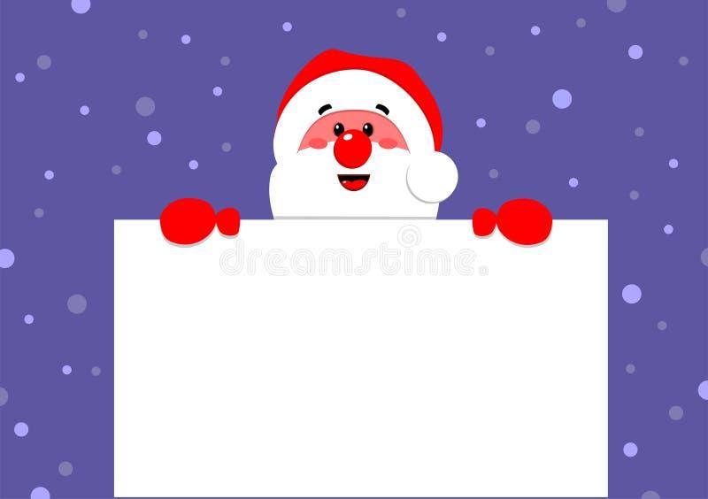 Il Babbo Natale tiene un manifesto illustrazione vettoriale