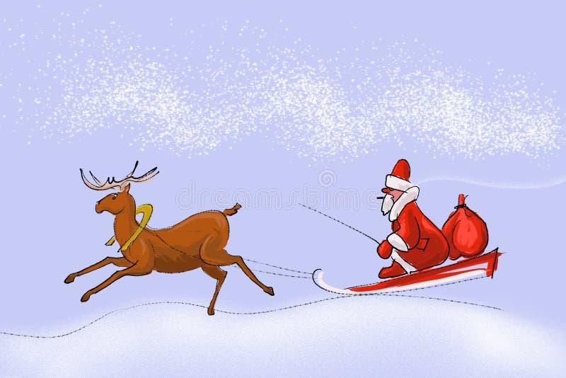 Il Babbo Natale in una slitta illustrazione vettoriale