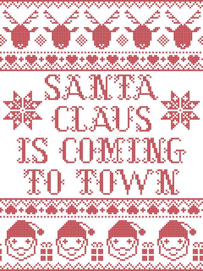 Il Babbo Natale venendo al modello senza cuciture scandinavo della città sta ispirando entro l'inverno festivo della cultura nord illustrazione di stock