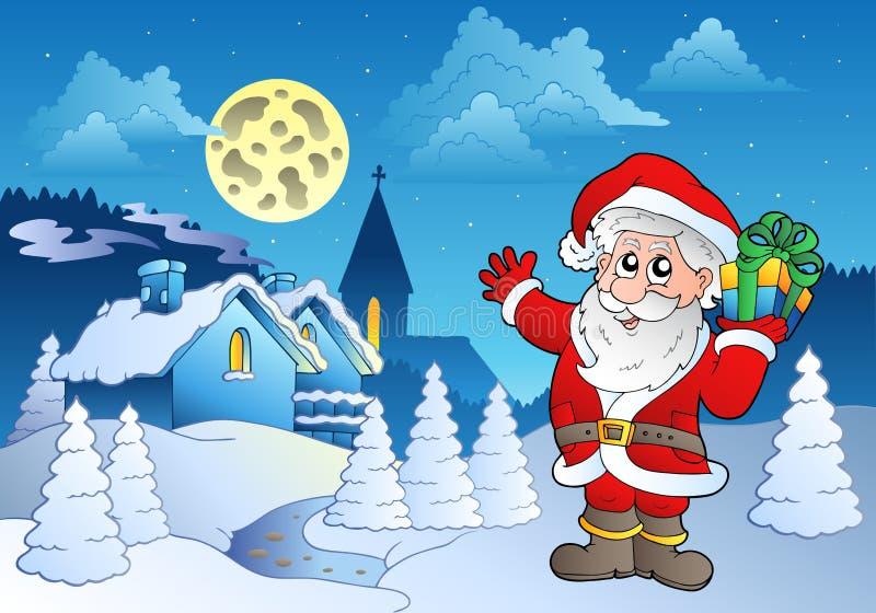 Il Babbo Natale vicino al piccolo villaggio 1 royalty illustrazione gratis