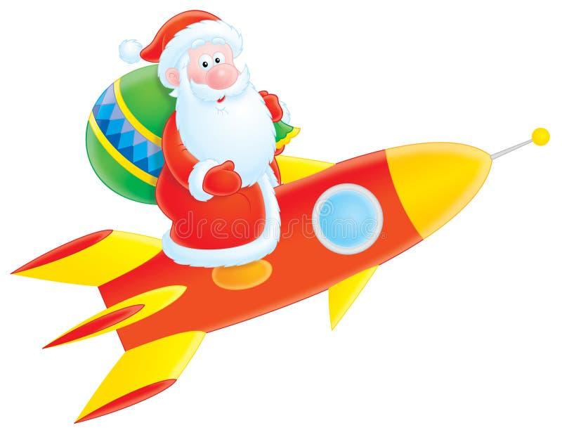 Il Babbo Natale vola su un razzo illustrazione di stock