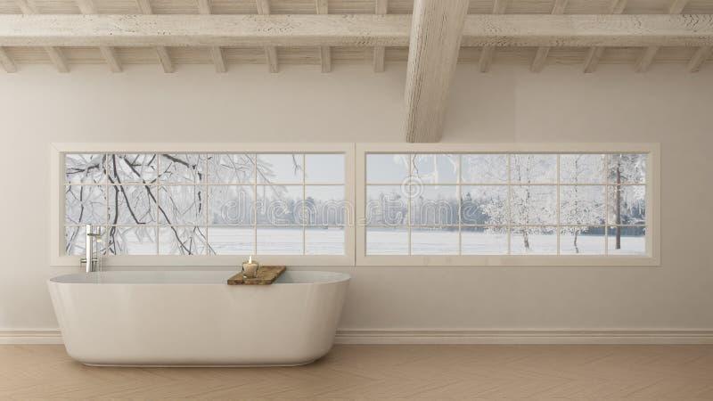 Il bagno bianco scandinavo, manda in aria la progettazione minimalistic immagine stock libera da diritti