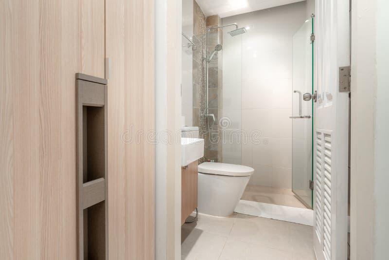 Il bagno di lusso caratterizza il bacino, ciotola di toilette immagini stock