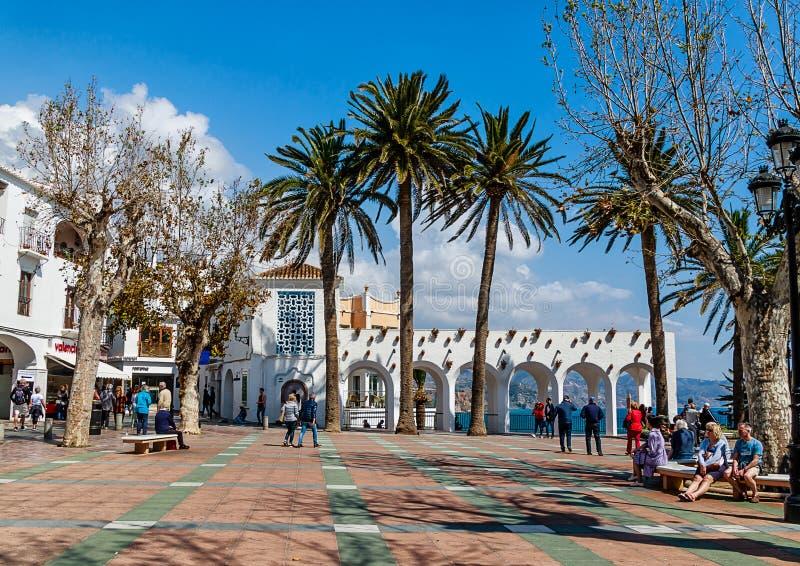 Il Balcon de Europa su Costa del Sol, provincia di Malaga, Spagna immagini stock libere da diritti
