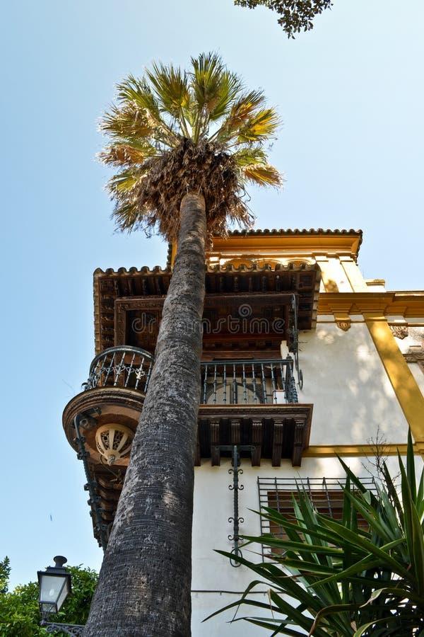 Il balcone in Siviglia, Spagna, di cui ha ispirato il barbiere di opera fotografia stock libera da diritti
