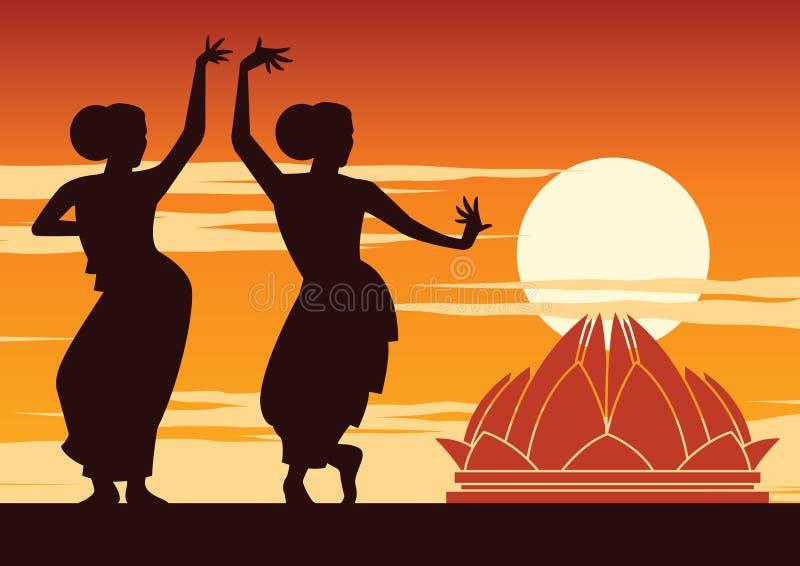 Il ballerino dell'India esegue vicino al punto di riferimento famoso su tempo del tramonto, progettazione della siluetta royalty illustrazione gratis