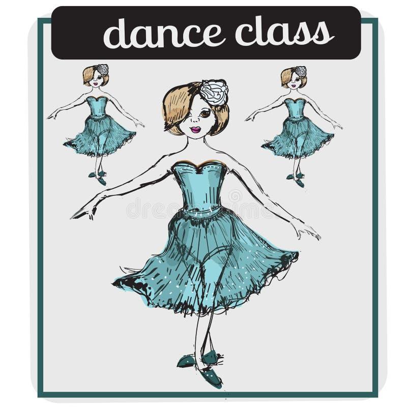 Il balletto classifica l'illustrazione di vettore di stile del fumetto isolata su fondo bianco ballerina Illustrazione di ballett illustrazione di stock
