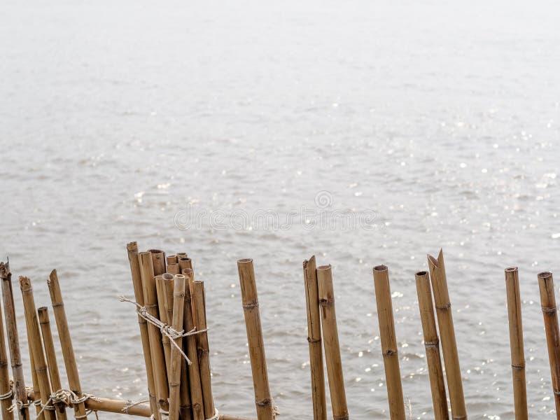 Il bambù recinta il fiume immagine stock libera da diritti