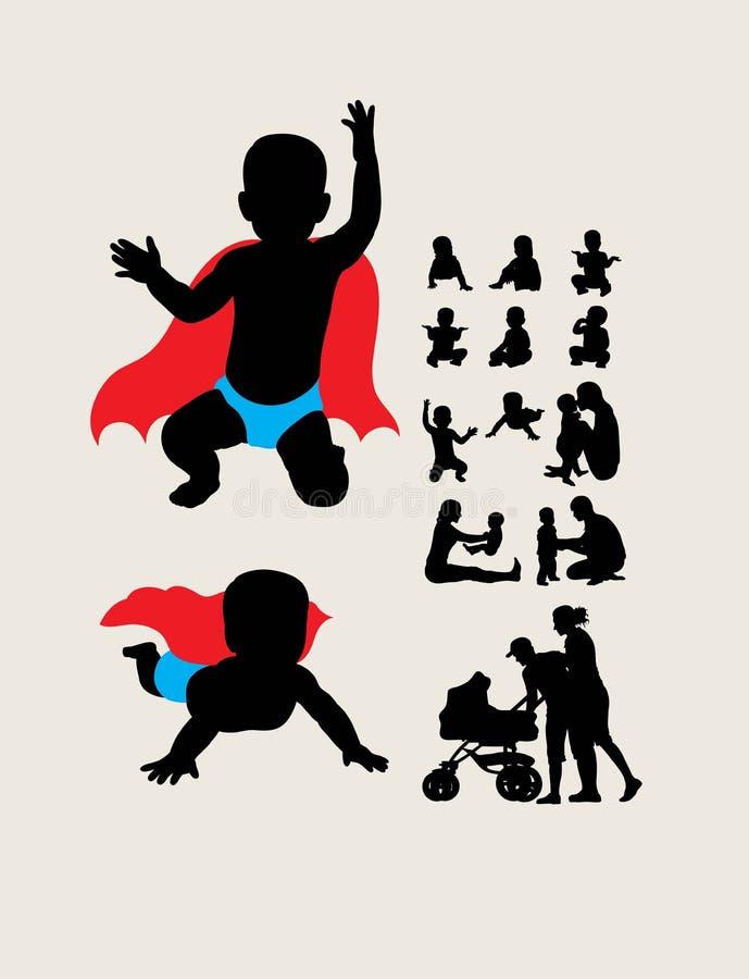 Il bambino è siluette dell'eroe illustrazione vettoriale