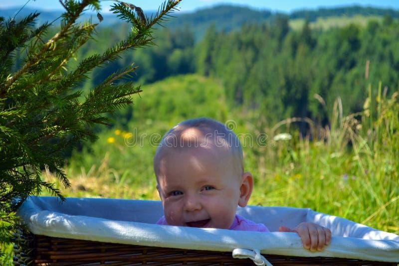 Il bambino abile e ingannevole si nasconde in un canestro di vimini immagine stock