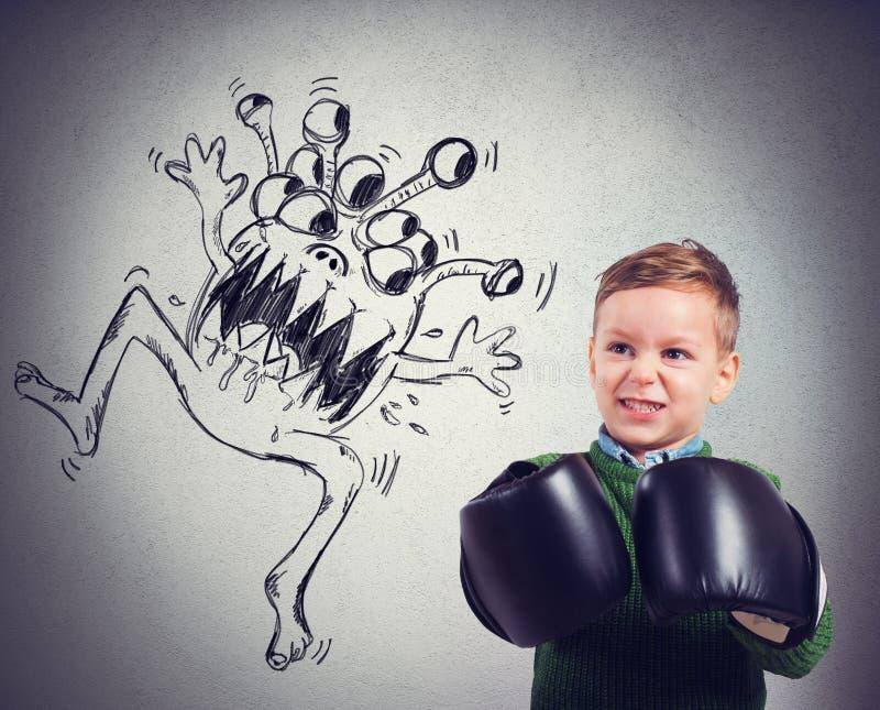 Il bambino affronta un virus illustrazione di stock