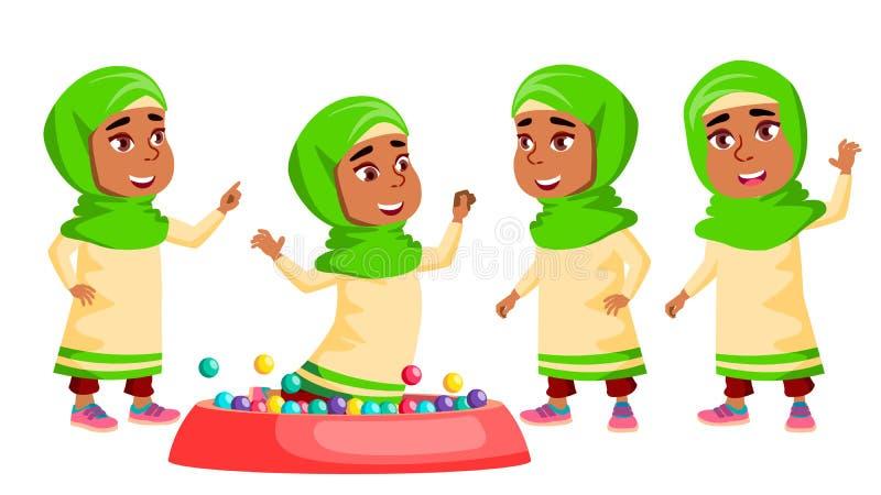 Il bambino arabo e musulmano di asilo della ragazza posa il vettore stabilito Attivo, Joy Preschooler Playing Per la presentazion royalty illustrazione gratis