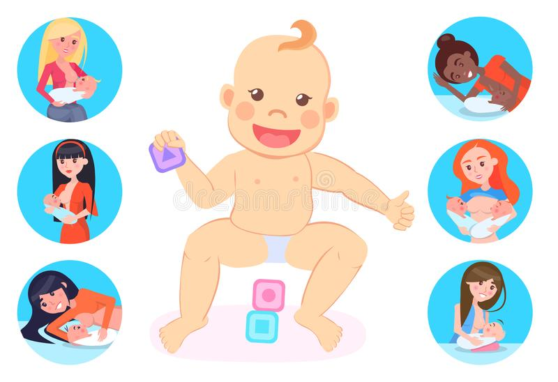 Il bambino che gioca con i cubi e le madri ha fissato la maternità illustrazione di stock