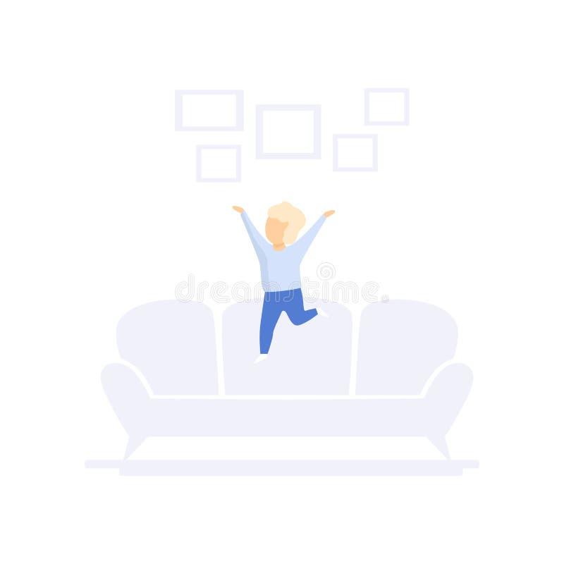 Il bambino che salta sul sofà, illustrazione di vettore di concetto di stile di vita della famiglia su un fondo bianco royalty illustrazione gratis
