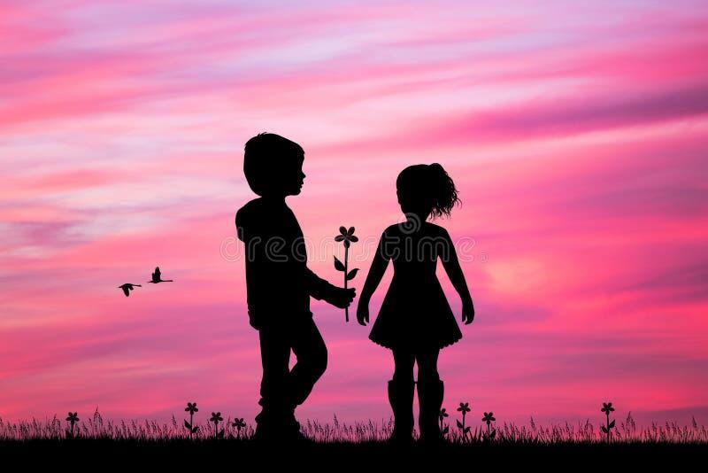 Il bambino dà un fiore alla bambina illustrazione vettoriale