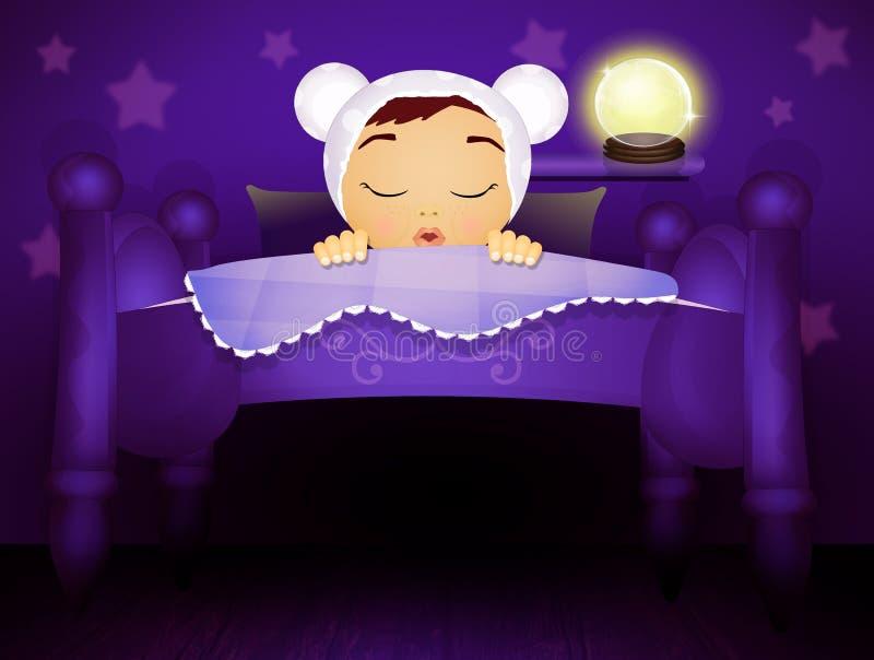 Il bambino dorme a letto con le stelle sporgenti sulla parete royalty illustrazione gratis